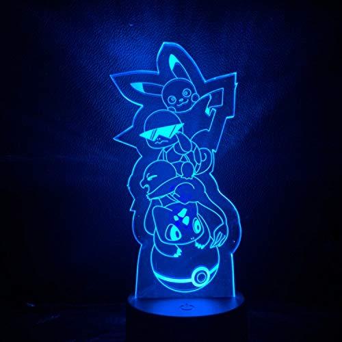 Pokemon zu LED-Nachtlicht Kinderzimmer Dekoration Batterie Nachtlicht Urlaub Geschenk Schlafzimmer Tischlampe Karte (Silber Pokemon-karte)