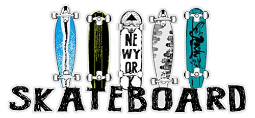 Wandtattoo Jugendzimmer Wandsticker Farbige Skateboard Decks mit Schriftzug Ska -