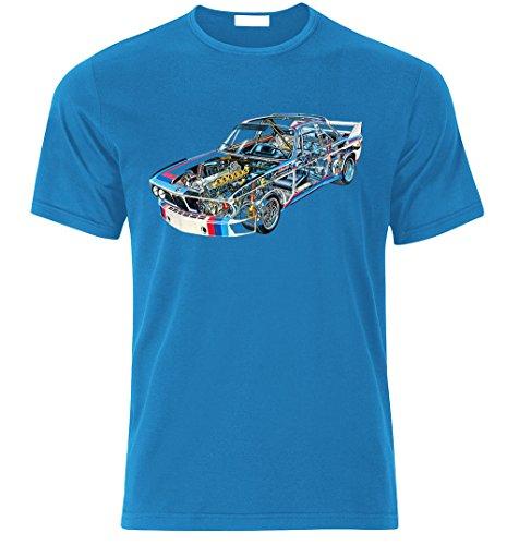 BMW 3,0CSL 1975 DTM Fan BEST fan TUNING SPEED RACE T-shirt size S-XXL (L, AZURE BLAU)