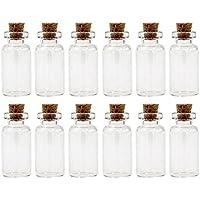 Ericotry - 24 botellas de cristal de corcho de 5 ml para decoración de bricolaje, mini botellas de cristal para regalos, viales, corcho, mensajes de corcho, ...