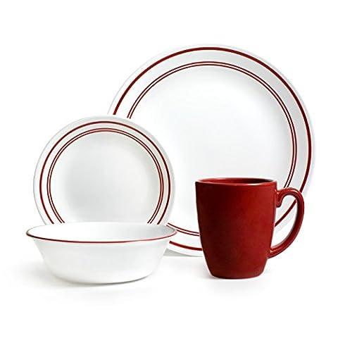 Corelle Service de vaisselle 16 pièces en verre Vitrelle Motif Café-Rouge classique-Table-Lot de 4–Rouge