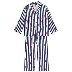 Bostar KPOP Bangtan Boys BT21 Versión de Dibujos Animados Jung JOOK Jimin V Same Pijama de Harajuku Camisa de Manga Larga Nighty Hombre Mujer Bedgown (Tata, XL)