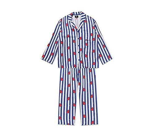 Bostar KPOP Bangtan Boys BT21 Versión de Dibujos Animados Jung JOOK Jimin V Same Pijama de Harajuku Camisa de Manga Larga Nighty Hombre Mujer Bedgown (Tata, L)
