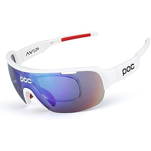 COOLLINE Paseo en bicicleta al aire libre con estilo en gafas polarizadas/TR90 material resistente al impacto cinco lentes de deportes gafas contiene , bright white