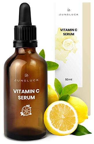 Junglück veganes Vitamin C Serum in Braunglas - Anti-Aging durch Feuchtigkeitspflege für Gesicht & Haut auf Basis von Bio Aloe Vera -...