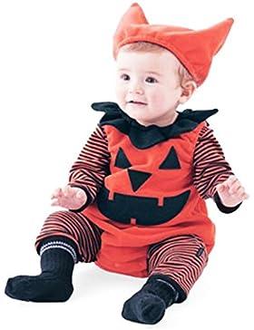Omiky® Neugeborenes Säuglingsbaby-gestreifter Kürbis-Spielanzug Halloween-Ausstattungs-Kostüm-Satz