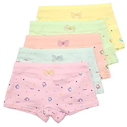 Zhongke fille sous-vêtements bébé fille adolescente pur coton motif enfant mignon pantalon sous-vêtements noeud papillon pour les filles enfants sous-vêtements (paquet de 5)