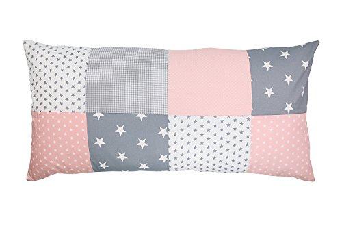 ULLENBOOM Patchwork Kissenbezug Rosa Grau (40x80 cm Kissenhülle, 100% Baumwolle, ideal als Dekokissen, Kinderzimmer Zierkissen, Motiv: Sterne)