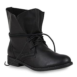 Trendy Damen Schuhe Stiefeletten Blockabsatz Leder-Optik 44438 Schwarz Schwarz 39 Flandell