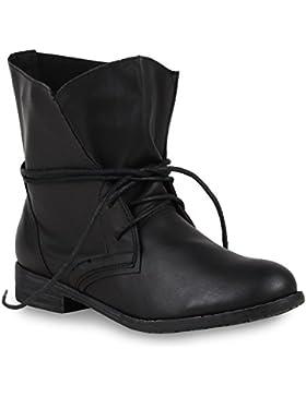 Stiefelparadies Damen Schnürstiefeletten mit Blockabsatz Basic Flandell