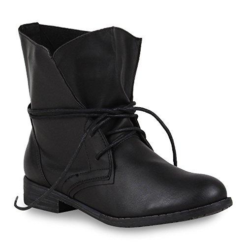 Trendy Damen Schuhe Stiefeletten Blockabsatz Leder-Optik 44438 Schwarz Schwarz 41 Flandell