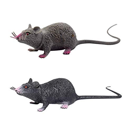 BESTOYARD 2 stücke Lebensechte Gefälschte Maus Realistische Mäuse Spielzeug Gruselige Ratte Spielzeug Halloween Streich Spielzeug Creepy Halloween Party Aprilscherz Dekorationen M (Schwarz, Grau)
