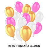 Birthday Party Decorations, HusDow Happy Birthdays Banner Garland, 6 Tissue Paper Pom Poms and 30pcs Latex Party Balloons in Pink Gold White