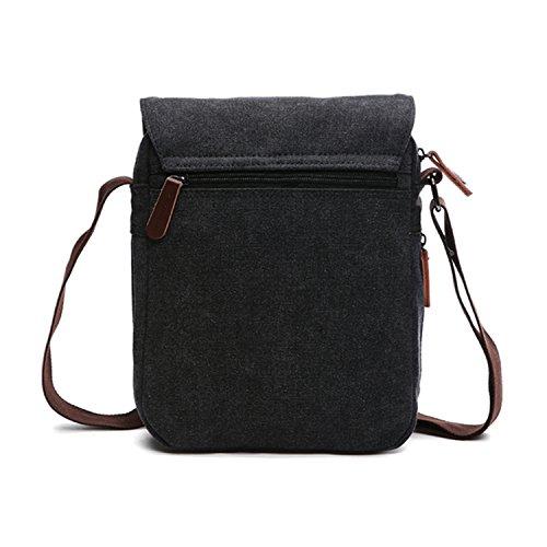Outreo Schultertasche Vintage Umhängetasche Herren Messenger Taschen Canvas Kuriertasche für Tablet Retro Reisetasche Schule Aktentasche Schwarz