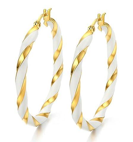 Onefeart Edelstahl Ohrringe Frau Elegant Symmetrisch Runden Kreis Hoop Form 42x4MM Gold Und Weiß