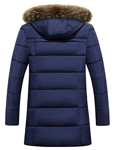 Vogstyle Herren Parka mit Kapuze Wintermantel Baumwolle Jacken Mäntel Mens Hooded Winter Warm Coat Jacket Art 2 Blau