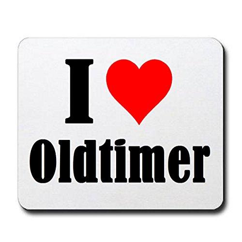 """Gaming Mauspad \""""I Love Oldtimer\"""" in Weiss, eine tolle Geschenkidee die von Herzen kommt  Rutschfestes Mousepad   Geschenktipp: Weihnachten Jahrestag Geburtstag Lieblingsmensch"""