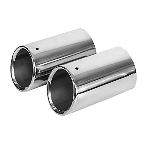 2 pcs Exhaust Tail Pipes Stainless Steel, fits 80mm*135mm, Chrome