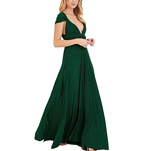 Lover-Beauty Kleider Damen V-Ausschnitt Rückenfrei Neckholder Abendkleider Elegant Cocktailkleid Multi-Way Maxikleid Lang Chiffon Party Kleid, Grün, (EU 38-40)L Chiffon Lang Kleid Grün