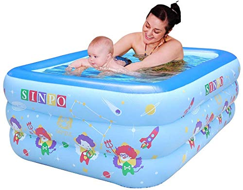 WEY&FLY Familie Pool, Kinderpool für Schwimmen Spielen Schlafen, Kinder Aufstellpool Planschbecken Aufblasbare Pool, Aufblasbare Badewanne, 3-Ring Embossing (150cm, Blau)