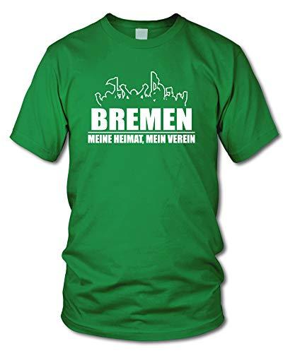shirtloge - Bremen - Fanblock - Meine Heimat, Mein Verein - Fussball Fan T-Shirt - Grün - Größe XXL