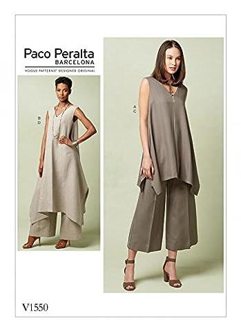 Vogue Patron de couture pour femmes 1550Pull Tunique et large jambe Pantalon