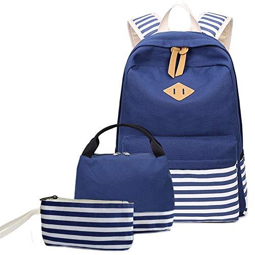 3 Teile/Satz Wasserdichter Rucksack, Gestreifter Seerucksack Rucksack Marine Sailor Navy Stripy Schultaschen (Color : Royal Blue, Size : M)