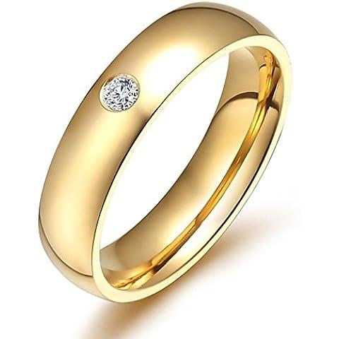 Donna Matrimonio Banda Acciaio Inossidabile Cubic Zirconia Opzioni Multi-Colore Oro Dimensione 10 Di AieniD