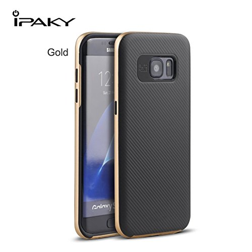 Original iPaky Brand Luxury High Quality Ultra-Thin Dotted Silicon Back + PC Gold Frame Bumper Back Case Cover for Samsung Galaxy S7 Edge – Gold