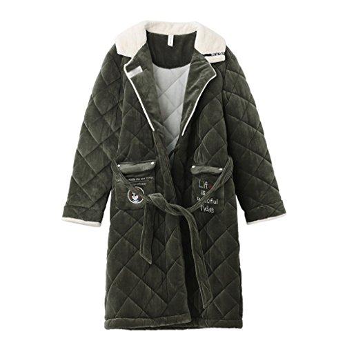 ZLR Herbst Winter Saison Lady Sleep Robe Verdickung Plus Lange Abschnitt Drei Schicht Plus Baumwolle Pyjamas Home Kleidung Bademantel ( größe : M ) (2 Abschnitt Behindern)