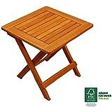 SAM® Table de jardin en bois d'acacia, certifié FSC® 100 %, table d'appoint en bois massif, couleur brun, 46 x 46 cm, table pliante pour jardin, balcon, terrasse, table en bois dur, pliante