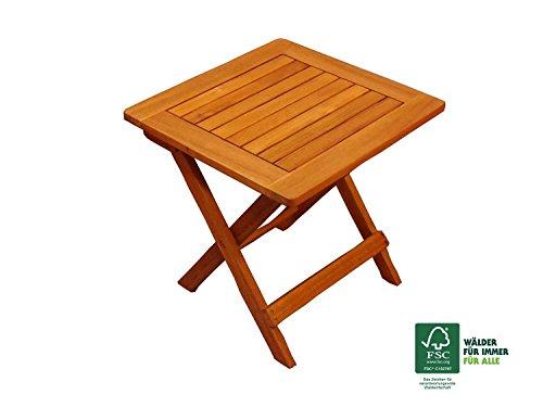 SAM® Garten-Tisch aus Akazien-Holz, FSC® 100 % zertifiziert, Beistelltisch aus Massiv-Holz, Farbe braun, 46 x 46 cm, Klapptisch für Garten, Balkon, Terrasse, Hartholz-Tisch, klappbar