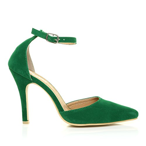 NEW YORK India Green Faux Suede Ankle Strap Pointed High Heel Court...