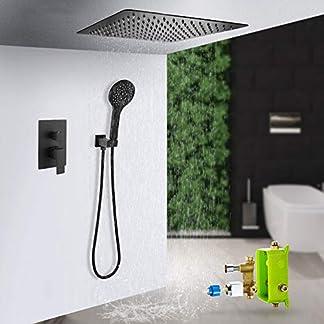 ducha empotrada negro en el techo, sistema set de ducha empotrado de bano alcachofa ducha cuadrada, en frío y caliente cobretipo pared empotrada ducha empotrado de bano-ducha empotrada pared