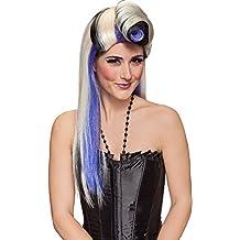 De pelo largo peluca rubia 50s con Tolle y cordones de color púrpura y negro Carnaval
