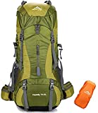 WENZHEN The North Face Zaino,Zaino da Viaggio 70L + 5L Impermeabile Trekking Escursionismo Alpinismo Arrampicata Zaino da Campeggio con parapioggia per Uomo Donna @ Green_33 X 27 X 78 cm