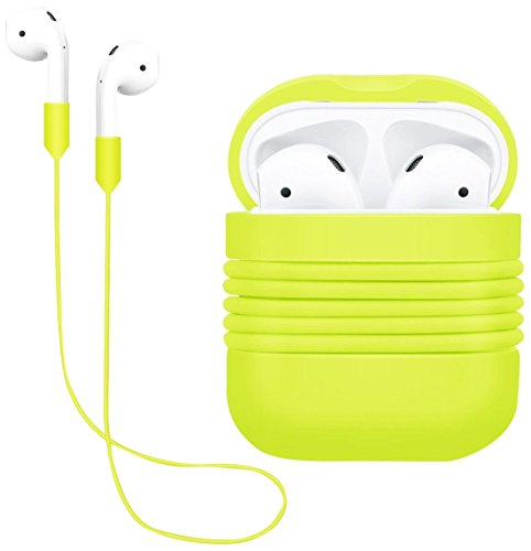AirPods Case Protective, Yometome AirPods Apple Cover Silicone Antiurto AirPods Protective Custodia Accessori skin-soft Silicone Cinghia dell anti-perso per Apple Airpods (AirPods Case + Cinghia dell anti-perso)