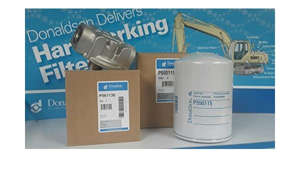 Fuel Filter Kit Donaldson P561136 Head /& P550115 Filter Fuel Transfer Pump//Tank
