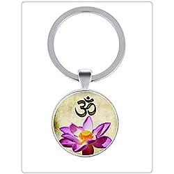 OM Llavero, Namaste Yoga Jewelry Lotus Zen Llavero fotos (Cristal Cabujón Llavero