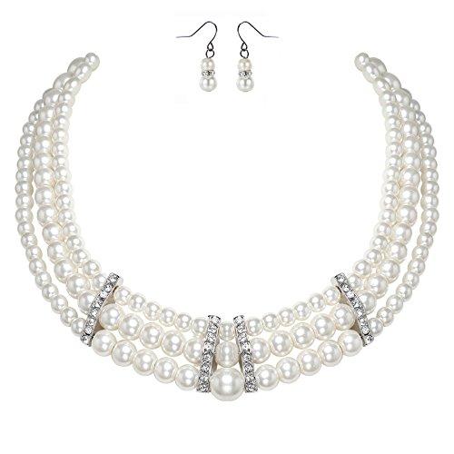 ArtiDeco 1920s Damen Halskette Hochzeit Braut Schmuck Accessoires Set Imitation Perlen Kette Retro Stil Armband und Ohrringe Gatsby Kostüm Zubehör - Kostüm Schmuck Braut