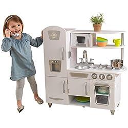 KidKraft 53208 Cocina de juguete con diseño Vintage de madera para niños con teléfono de juguete incluido - Blanco
