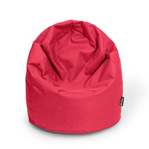 BuBiBag Sitzsack Tropfenform Beanbag Sitzkissen für In & Outdoor XL 300 Liter bis XXXL 470L mit Styropor Füllung in 23 versch. Farben (XXXL Ca. H : 130cm - Dm : 85cm ca. 490 Liter, rot)