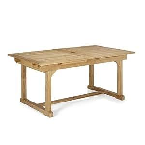 Nux Table avec rallonges en teck massif Naturel - Alinea 170.0x74.5x10