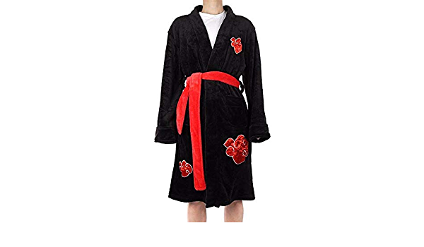 Kimono Adulte Peignoir Anime v/êtements de Nuit Naruto Cosplay Robe Akatsuki Uchiha Itachi Pyjama en Flanelle Unisexe Hiver Chaud v/êtements de Nuit