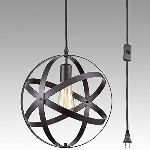 1 Pack-Industrie Plug In Pendelleuchte E26 E27 Industrie Hängeleuchte Metal Globe Vintage Pendelleuchte mit 3.2Ft Hängekabel und EIN/AUS-Schalter (ohne Glühbirne) [Energieklasse A +++] (Globes Deckenventilator Vintage)