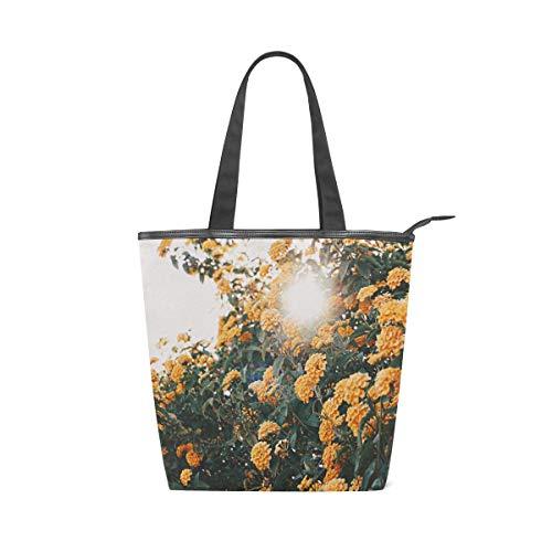 LAZEN Stilvolle Leinwand Tote Bag Handtasche 14 x 4,5 x 15 Zoll niedlichen Blumen unter der Sonne