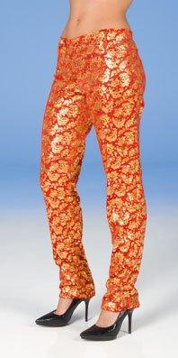 Samt Leggings rot Gold - zu Kostüm Barock Rokoko Show Glamour Tanz - Gr. 40 - Barock Tanz Kostüm