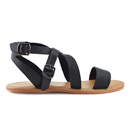 Kick Footwear - Moda Donna Estate Casual Sandali Scarpe Di Cuoio Naturale Nero
