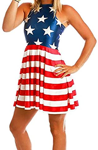 Fulok Women Crewneck Flag Print Pleated Flare Slim Mini Club Dress Medium American Flag