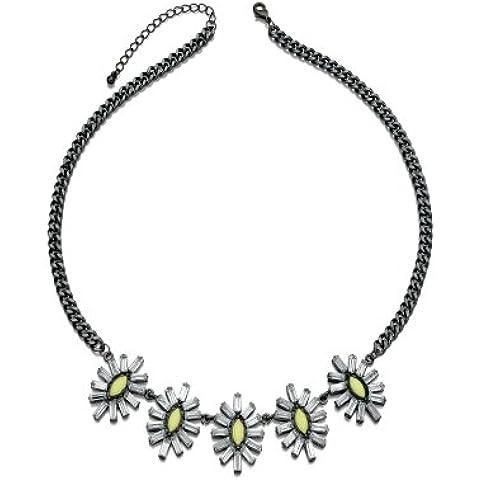 Fiorelli Flora: scuro rodio viennagold collana con grandi fiori bianco-gialli, IN